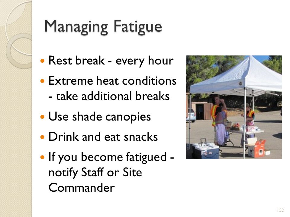 Managing Fatigue Rest break - every hour