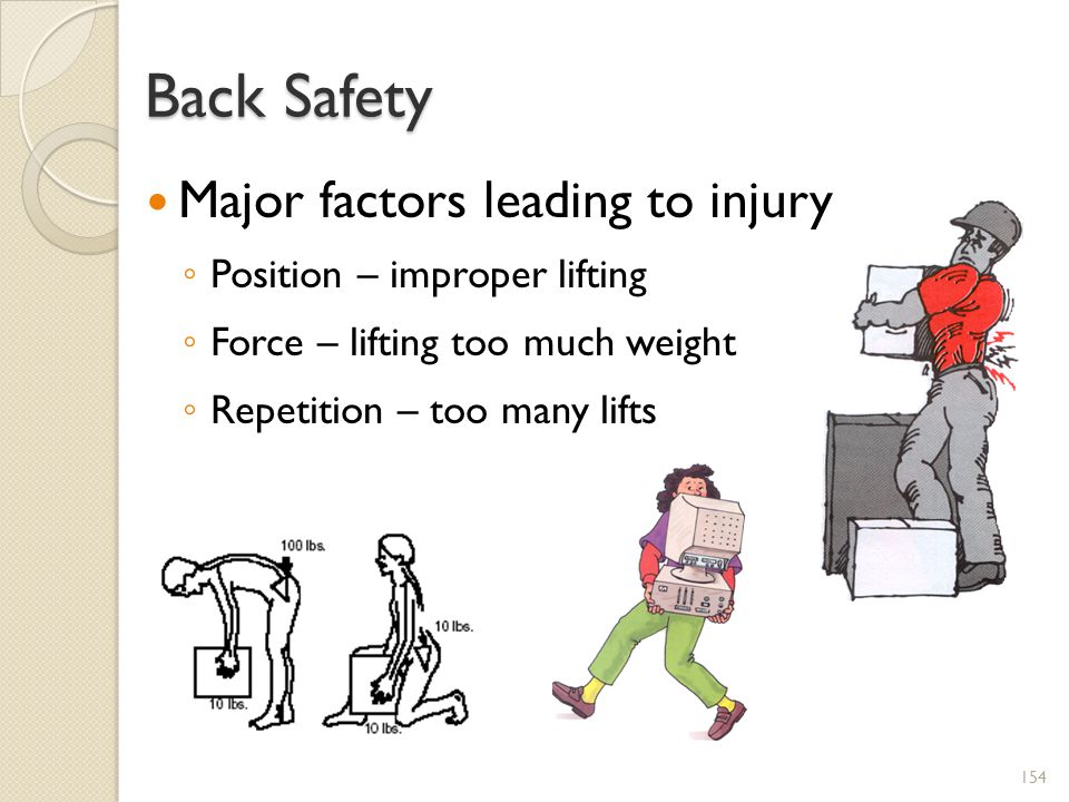 Back Safety Major factors leading to injury