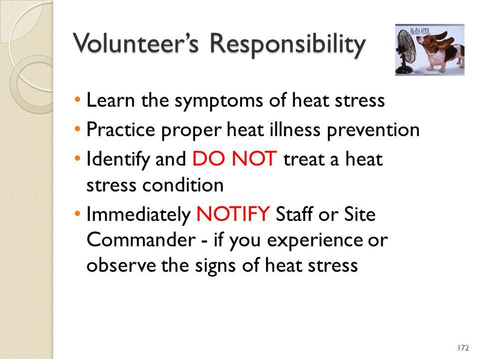 Volunteer's Responsibility