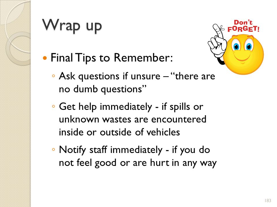 Wrap up Final Tips to Remember: