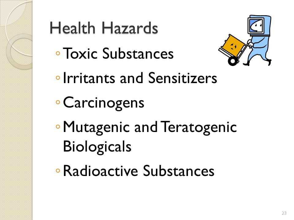 Health Hazards Toxic Substances Irritants and Sensitizers Carcinogens