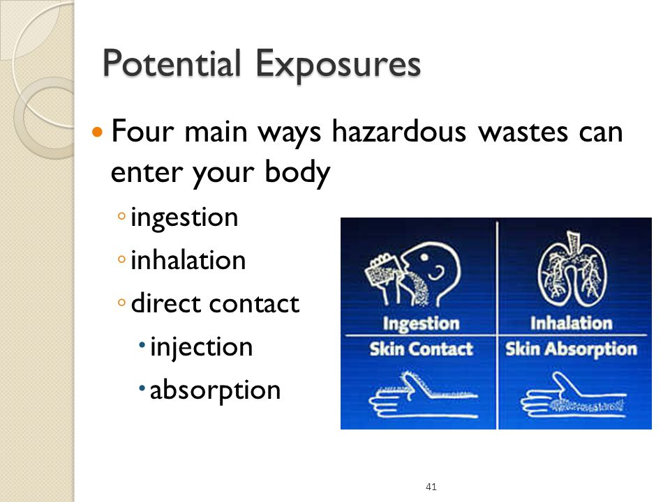 Potential Exposures Four main ways hazardous wastes can enter your body. ingestion. inhalation.