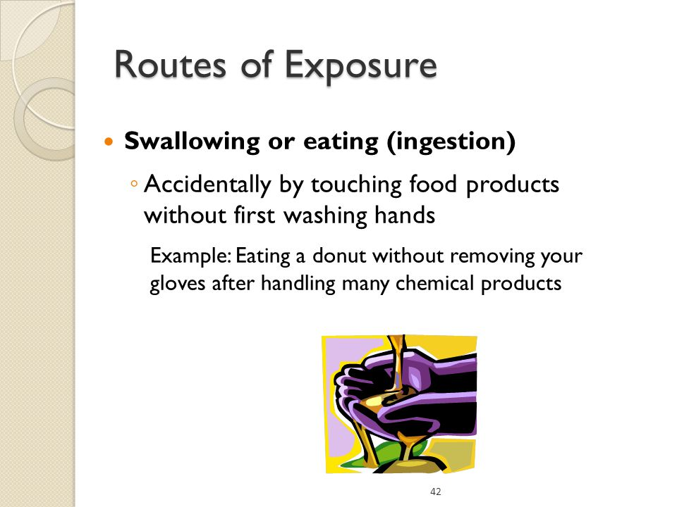Routes of Exposure Swallowing or eating (ingestion)