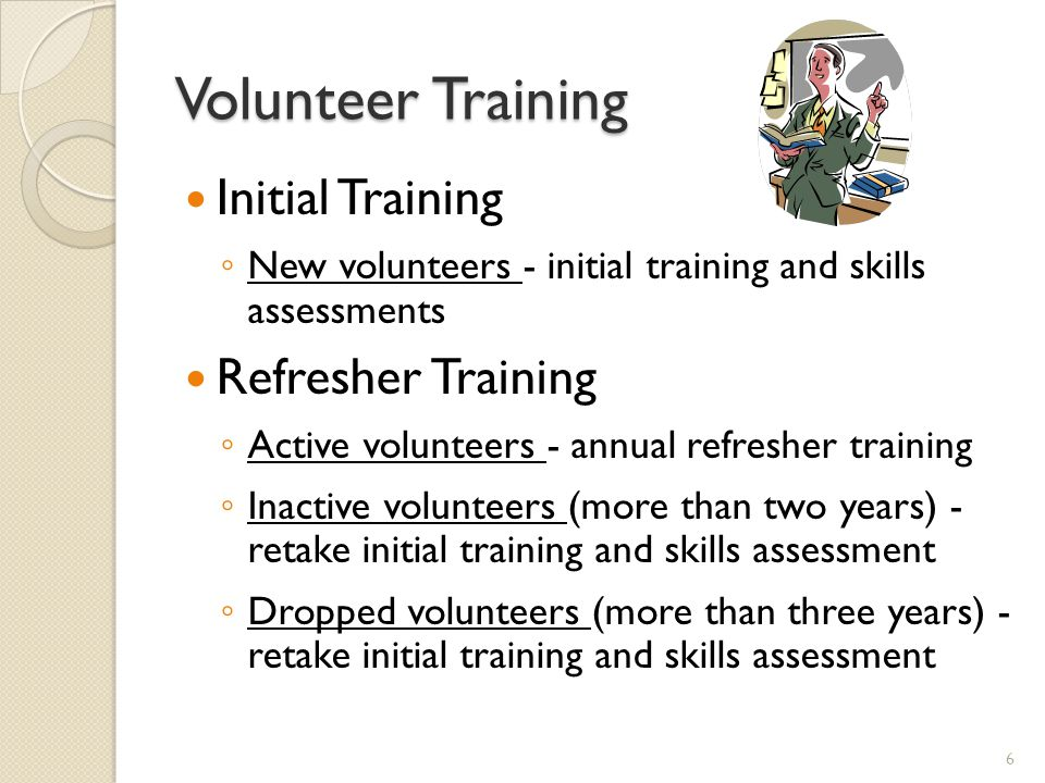 Volunteer Training Initial Training Refresher Training