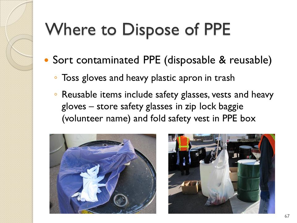 Where to Dispose of PPE Sort contaminated PPE (disposable & reusable)