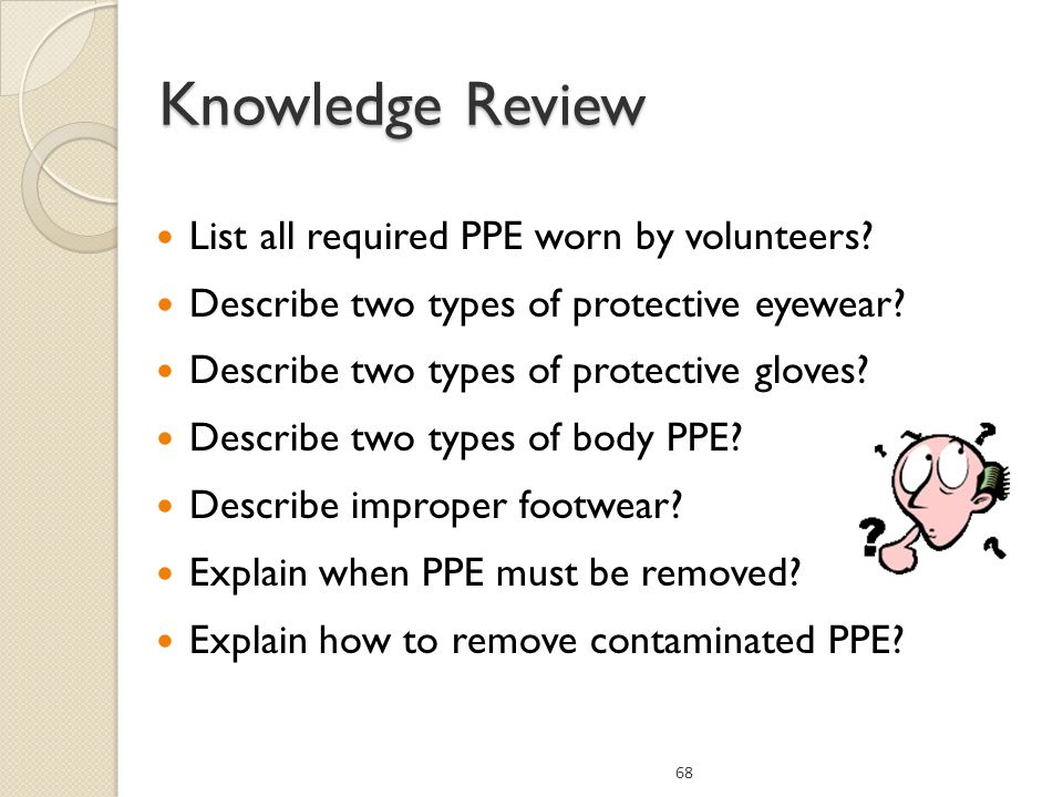 Knowledge Review List all required PPE worn by volunteers