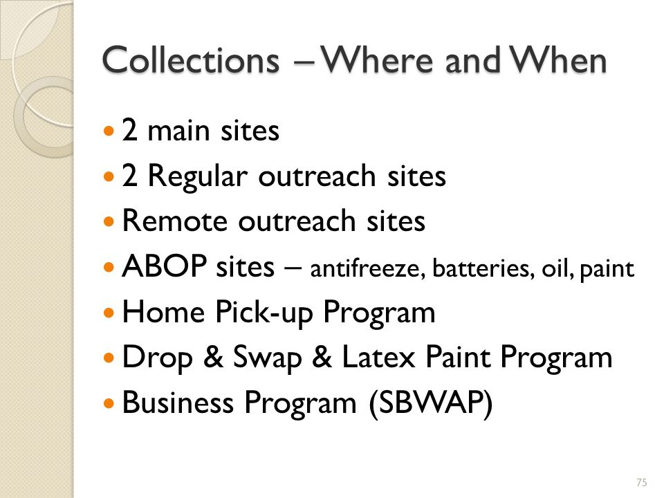 Collections – Where and When
