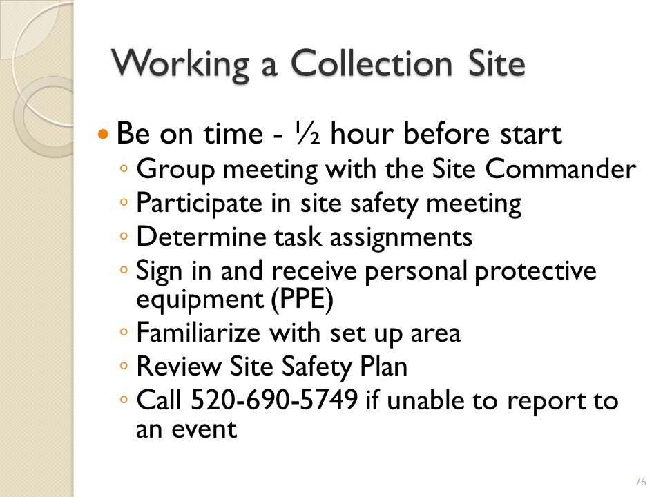 Working a Collection Site