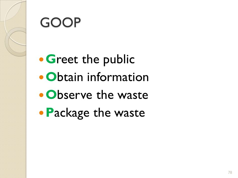 GOOP Greet the public Obtain information Observe the waste