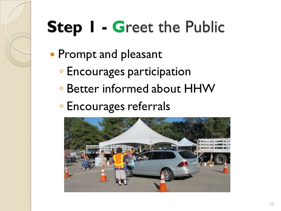 Step 1 - Greet the Public Prompt and pleasant Encourages participation