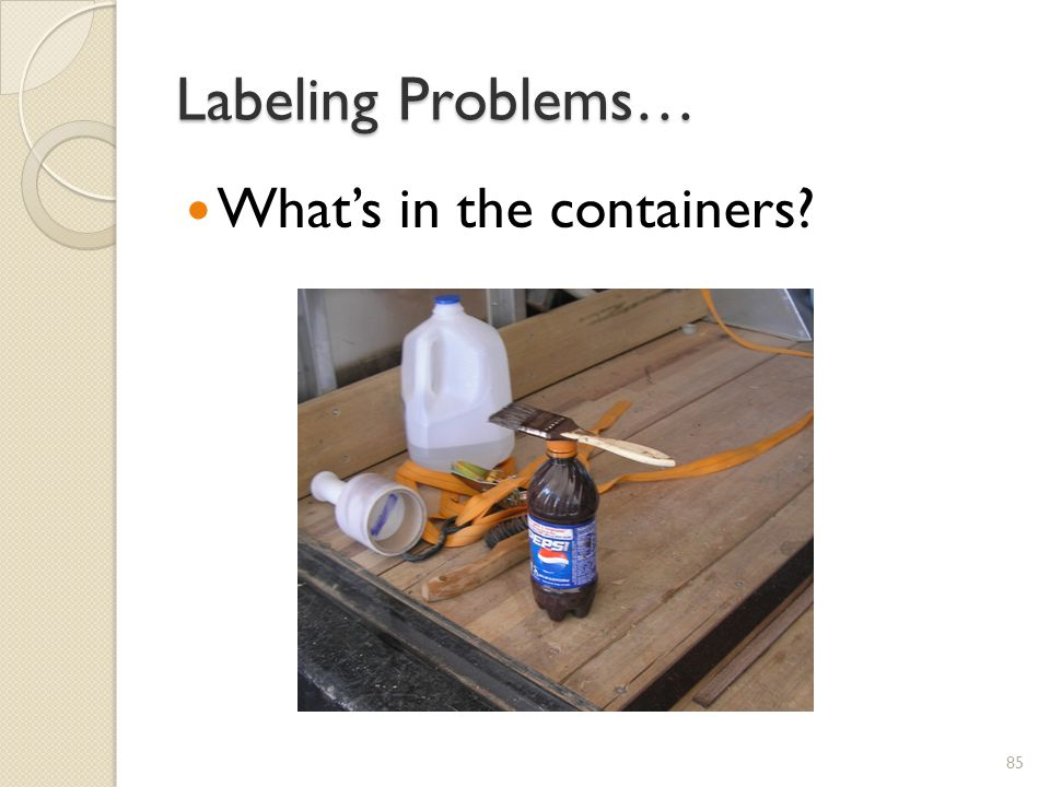 Labeling Problems… What's in the containers XX.2011