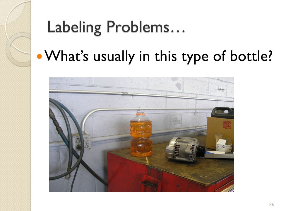 Labeling Problems… What's usually in this type of bottle XX.2011