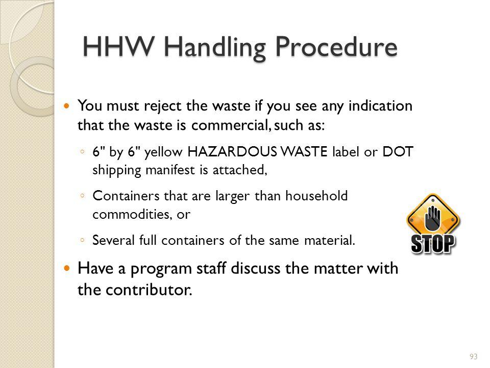 HHW Handling Procedure