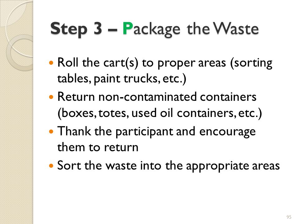 Step 3 – Package the Waste
