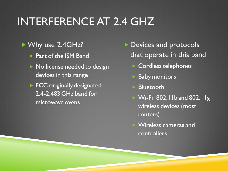 Interference at 2.4 GHz Why use 2.4GHz
