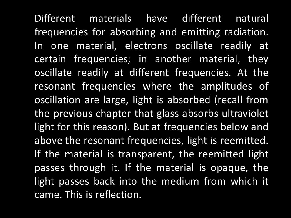 Different materials have different natural frequencies for absorbing and emitting radiation.