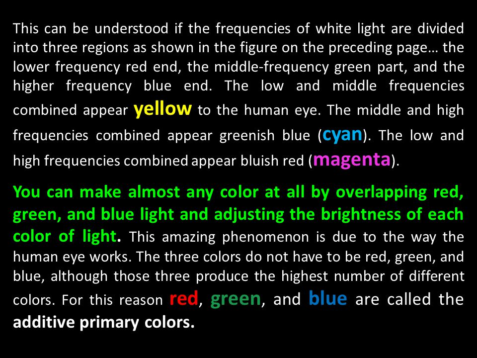 This can be understood if the frequencies of white light are divided into three regions as shown in the figure on the preceding page… the lower frequency red end, the middle-frequency green part, and the higher frequency blue end. The low and middle frequencies combined appear yellow to the human eye. The middle and high frequencies combined appear greenish blue (cyan). The low and high frequencies combined appear bluish red (magenta).
