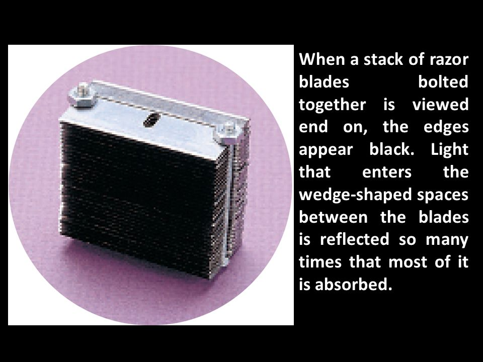 When a stack of razor blades bolted together is viewed end on, the edges appear black.