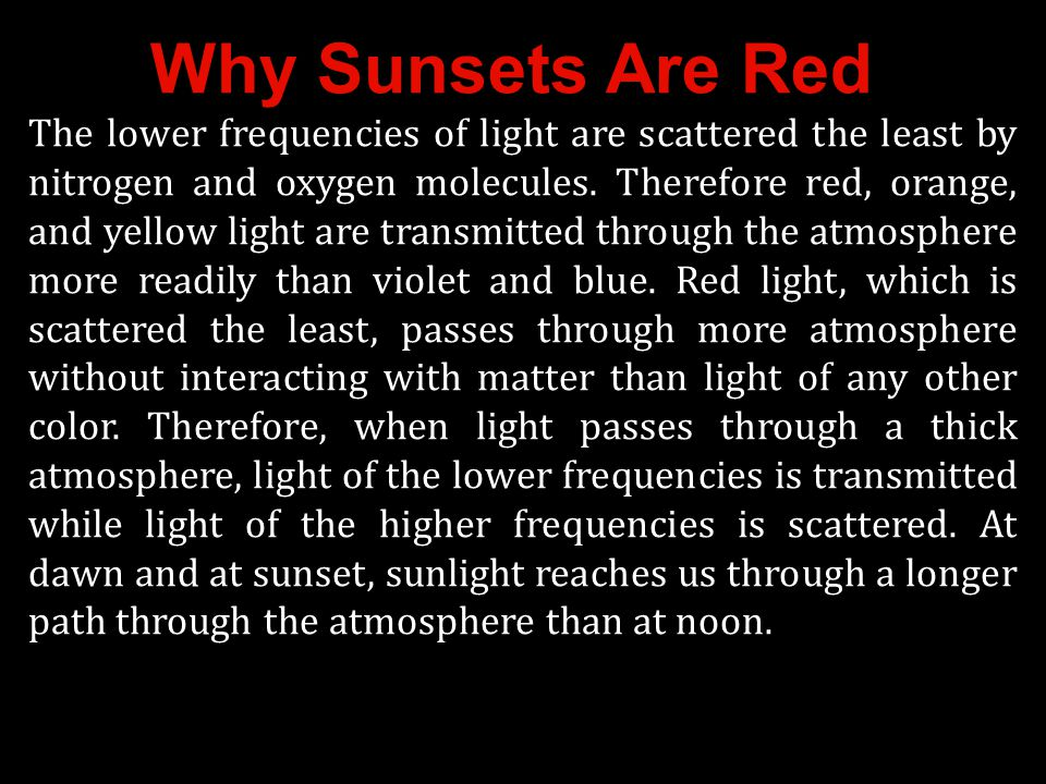 Why Sunsets Are Red