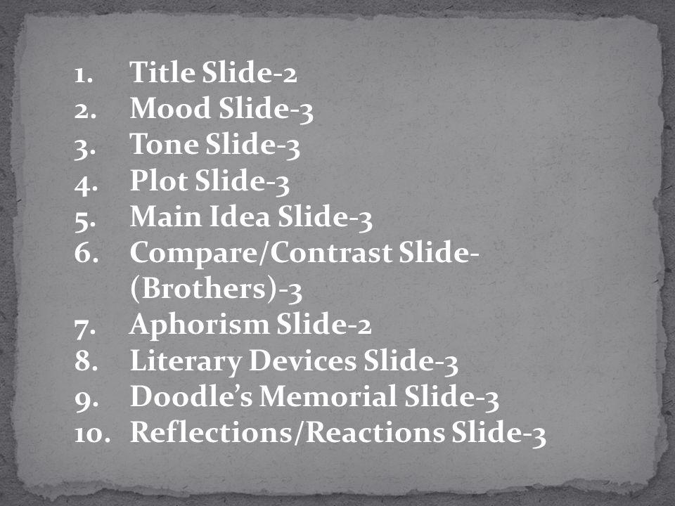 Title Slide-2 Mood Slide-3. Tone Slide-3. Plot Slide-3. Main Idea Slide-3. Compare/Contrast Slide- (Brothers)-3.