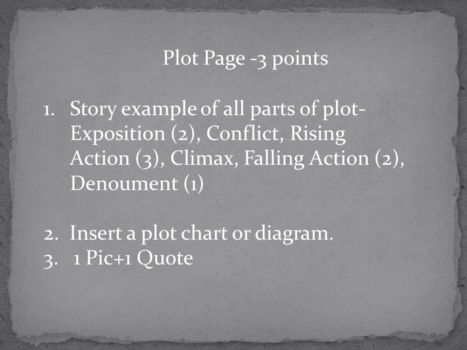 Plot Page -3 points Story example of all parts of plot-Exposition (2), Conflict, Rising Action (3), Climax, Falling Action (2), Denoument (1)