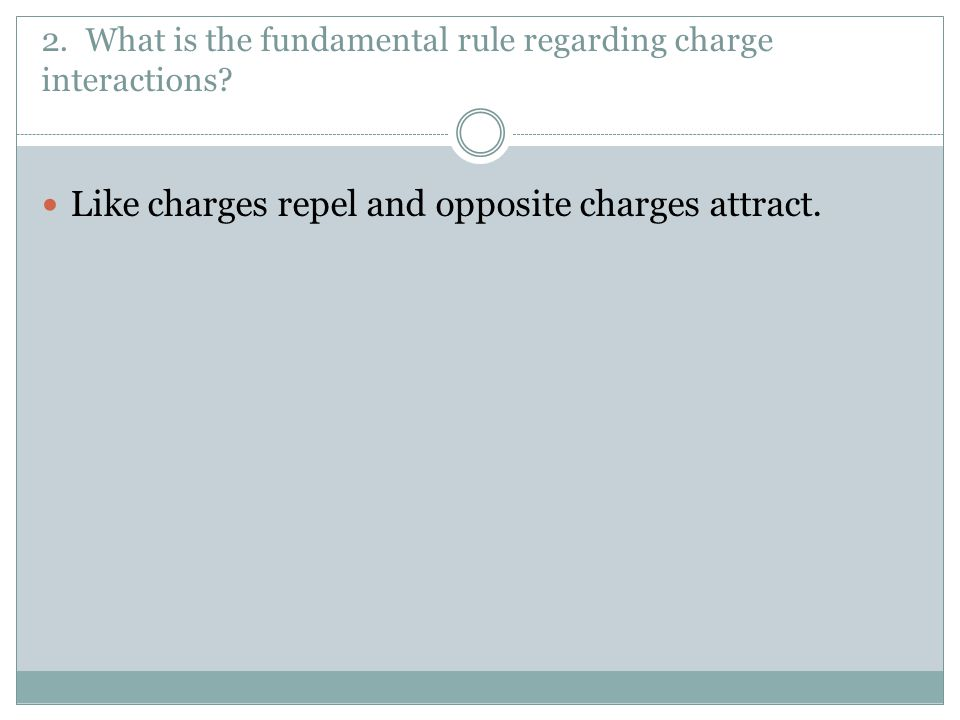 2. What is the fundamental rule regarding charge interactions