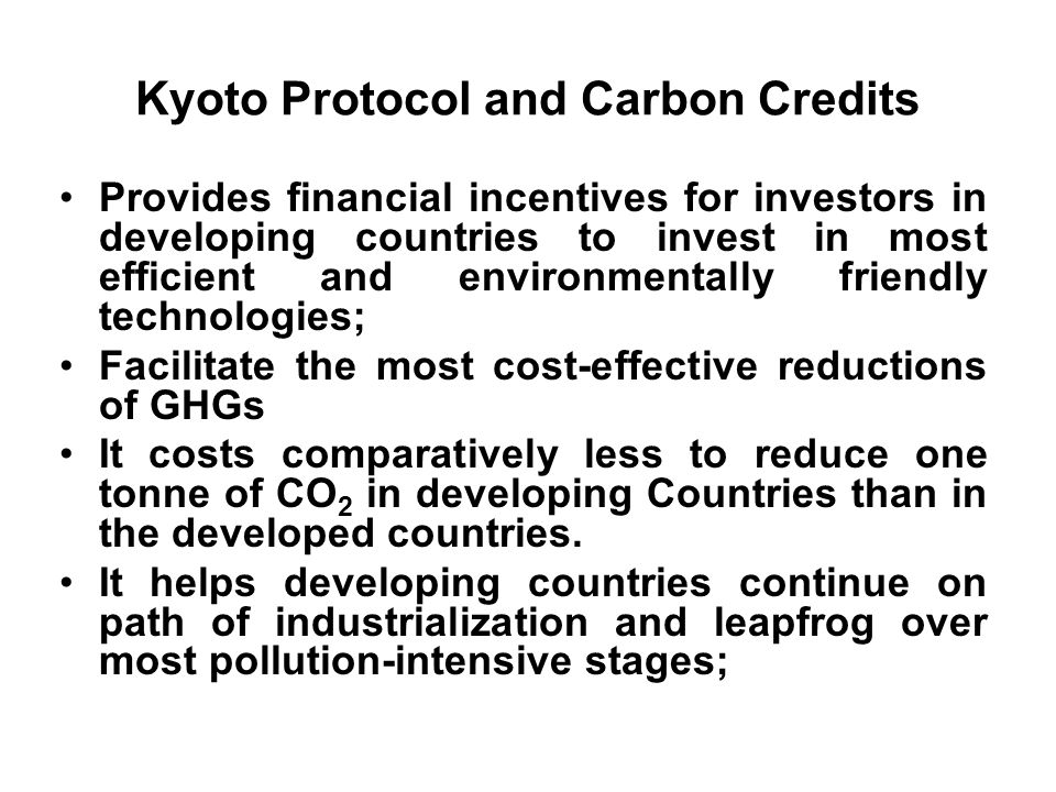 Kyoto Protocol and Carbon Credits