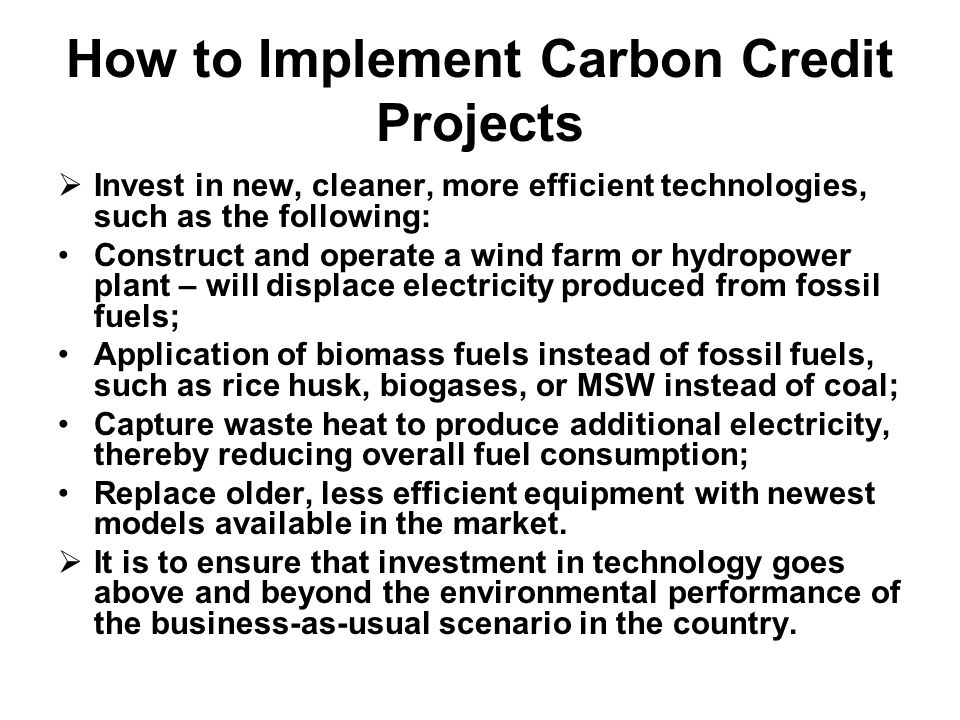 How to Implement Carbon Credit Projects