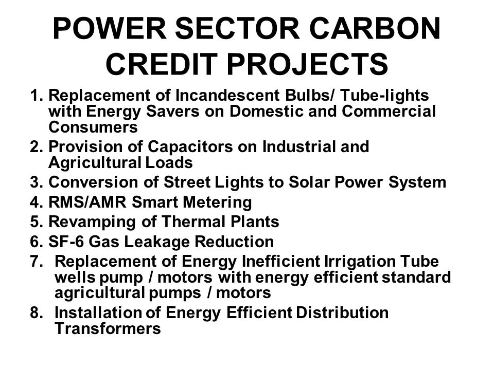 POWER SECTOR CARBON CREDIT PROJECTS