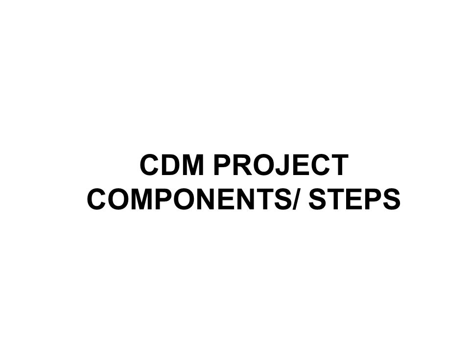 CDM PROJECT COMPONENTS/ STEPS