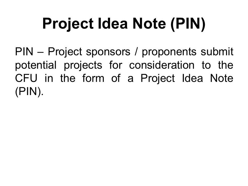 Project Idea Note (PIN)