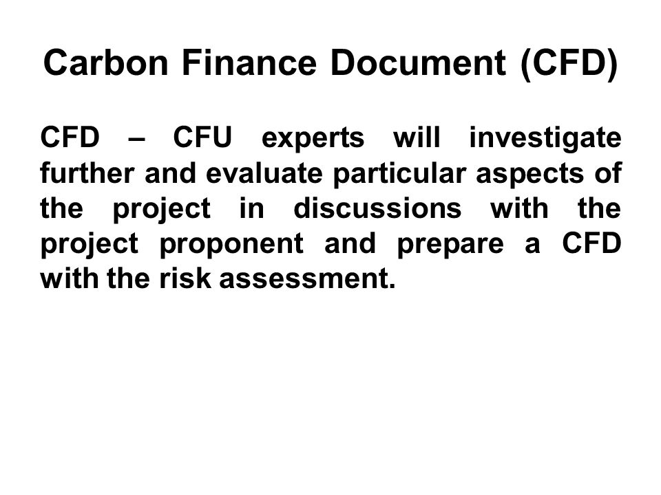 Carbon Finance Document (CFD)