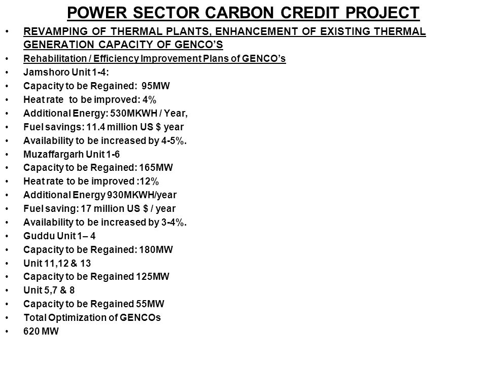 POWER SECTOR CARBON CREDIT PROJECT