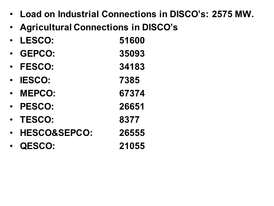 Load on Industrial Connections in DISCO's: 2575 MW.
