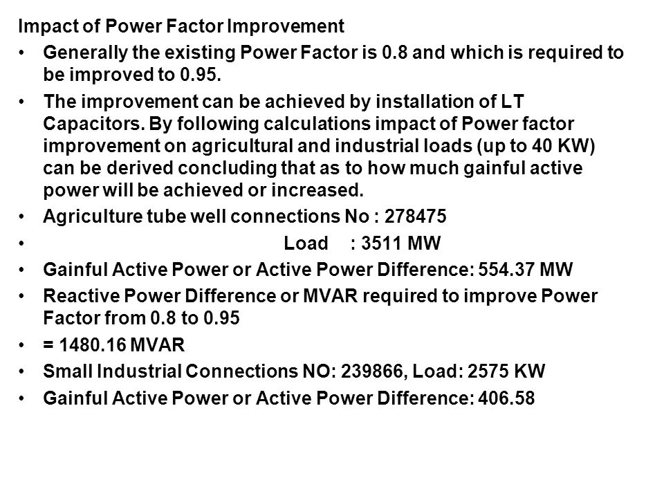 Impact of Power Factor Improvement