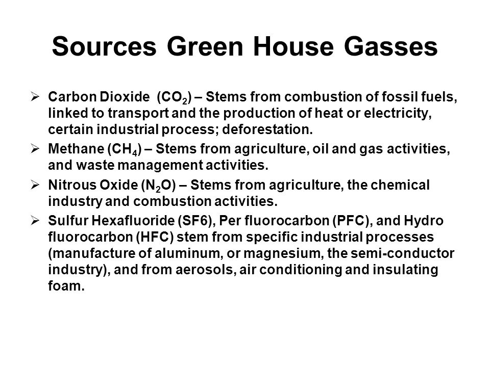 Sources Green House Gasses