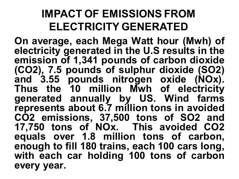 IMPACT OF EMISSIONS FROM ELECTRICITY GENERATED