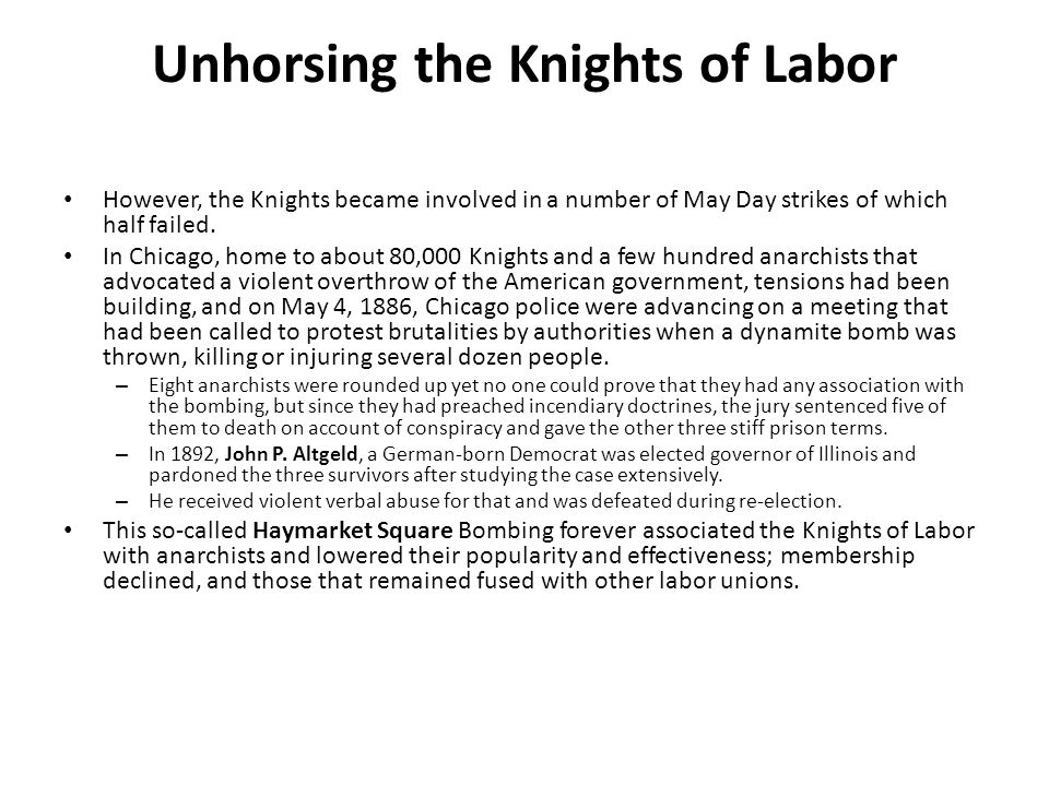 Unhorsing the Knights of Labor