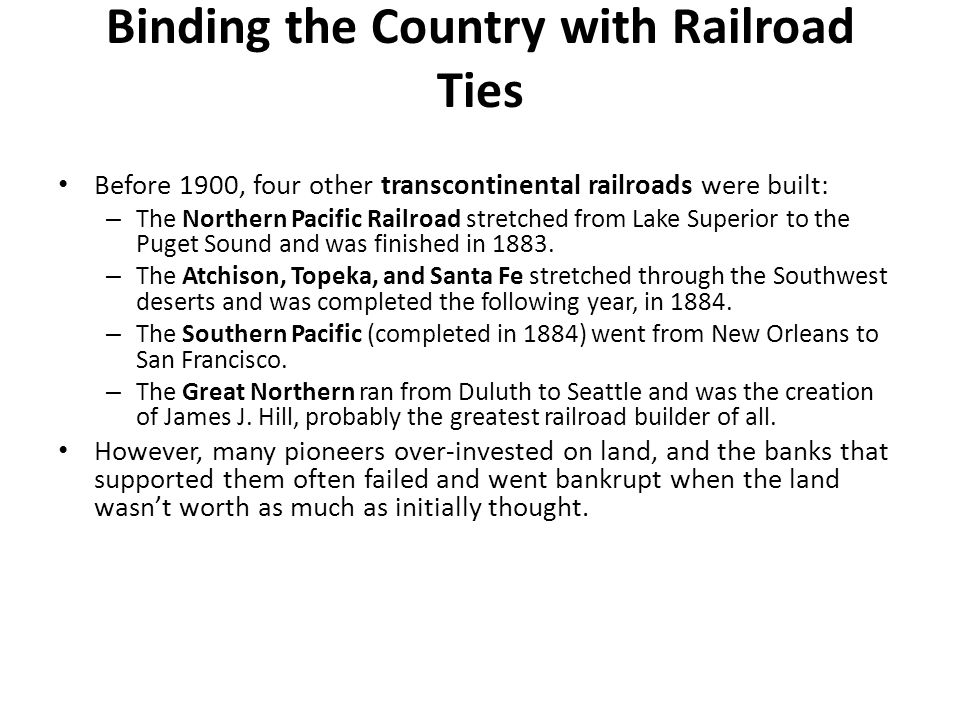 Binding the Country with Railroad Ties