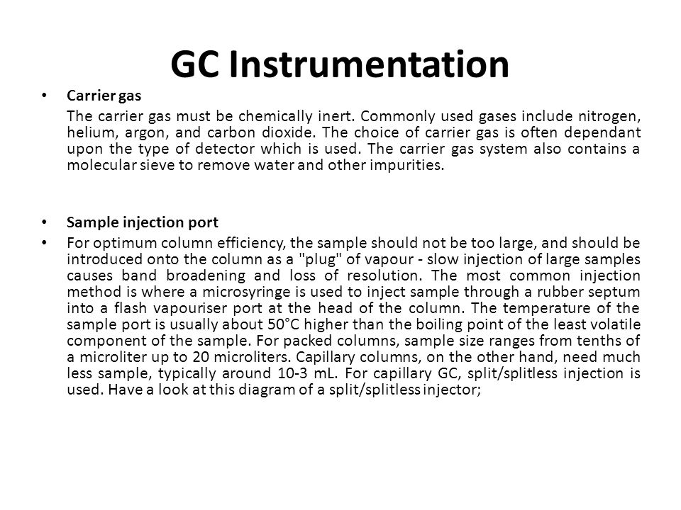 GC Instrumentation Carrier gas