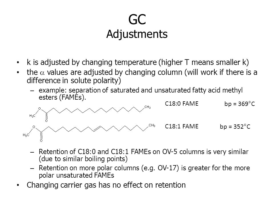 GC Adjustments k is adjusted by changing temperature (higher T means smaller k)