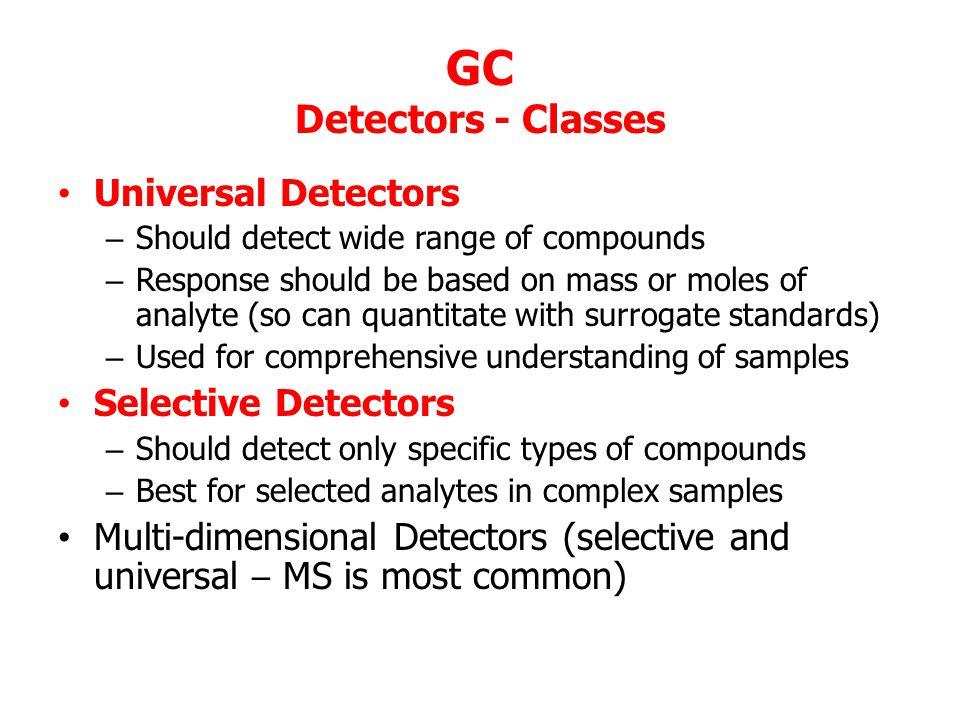 GC Detectors - Classes Universal Detectors Selective Detectors