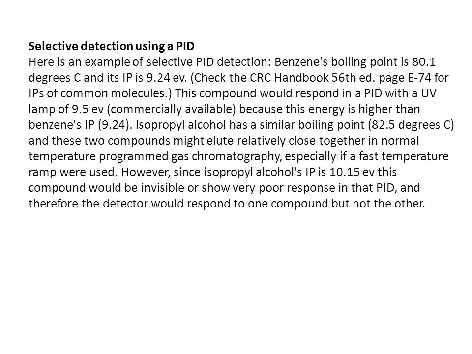 Selective detection using a PID