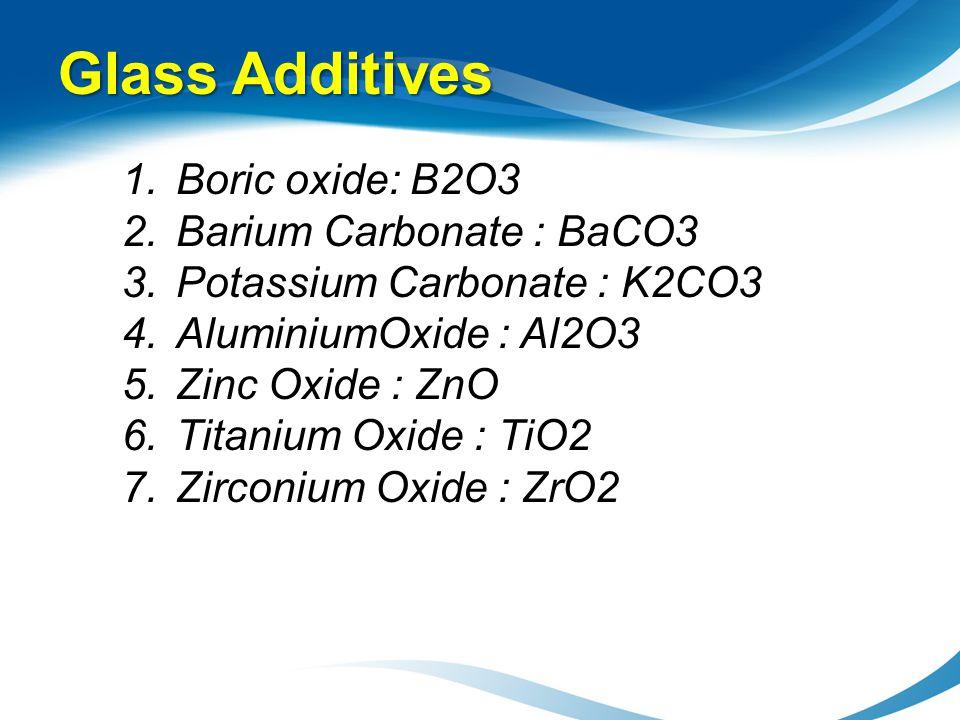 Glass Additives Boric oxide: B2O3 Barium Carbonate : BaCO3