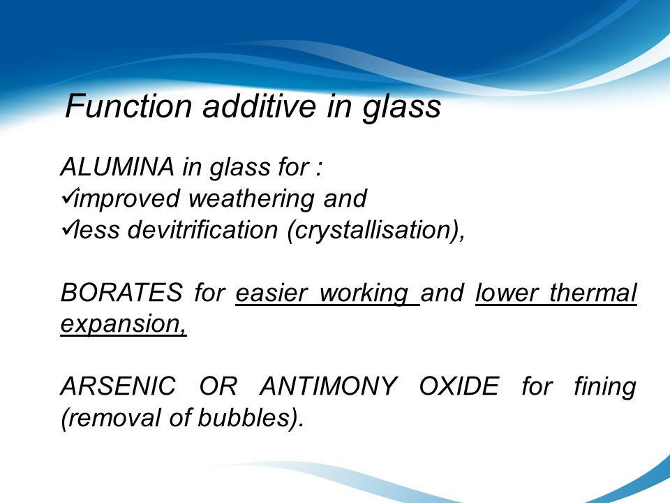 Function additive in glass