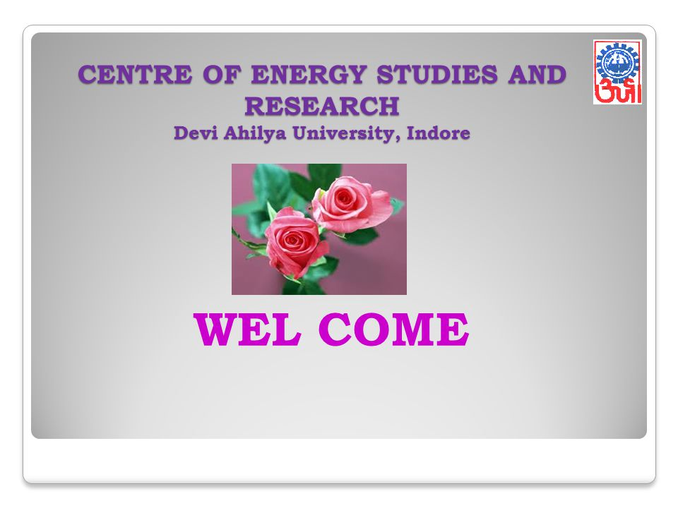 CENTRE OF ENERGY STUDIES AND RESEARCH Devi Ahilya University, Indore
