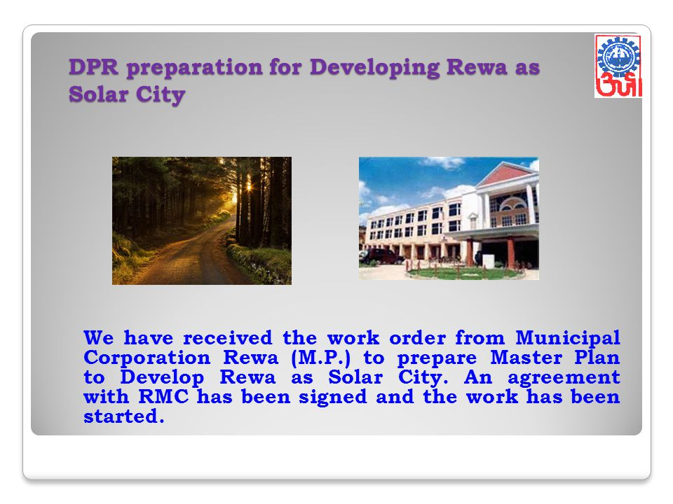 DPR preparation for Developing Rewa as Solar City