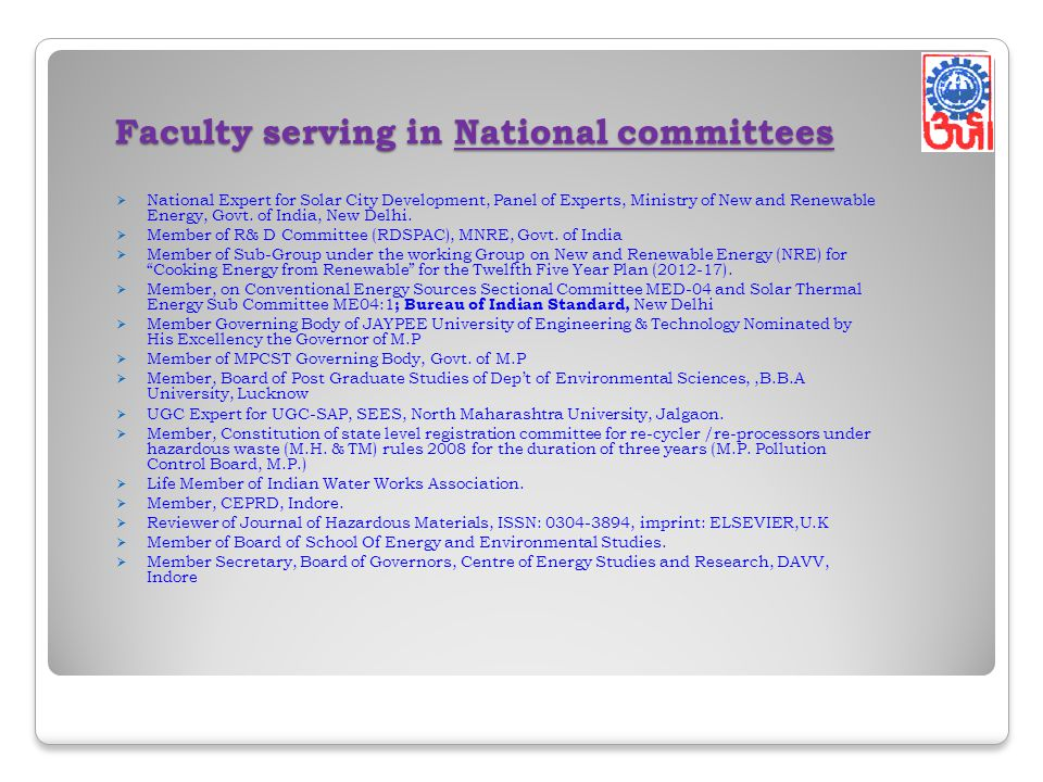 Faculty serving in National committees