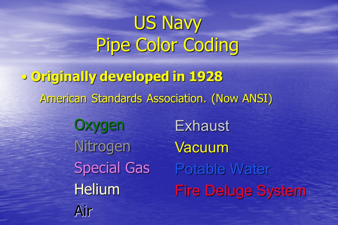 US Navy Pipe Color Coding