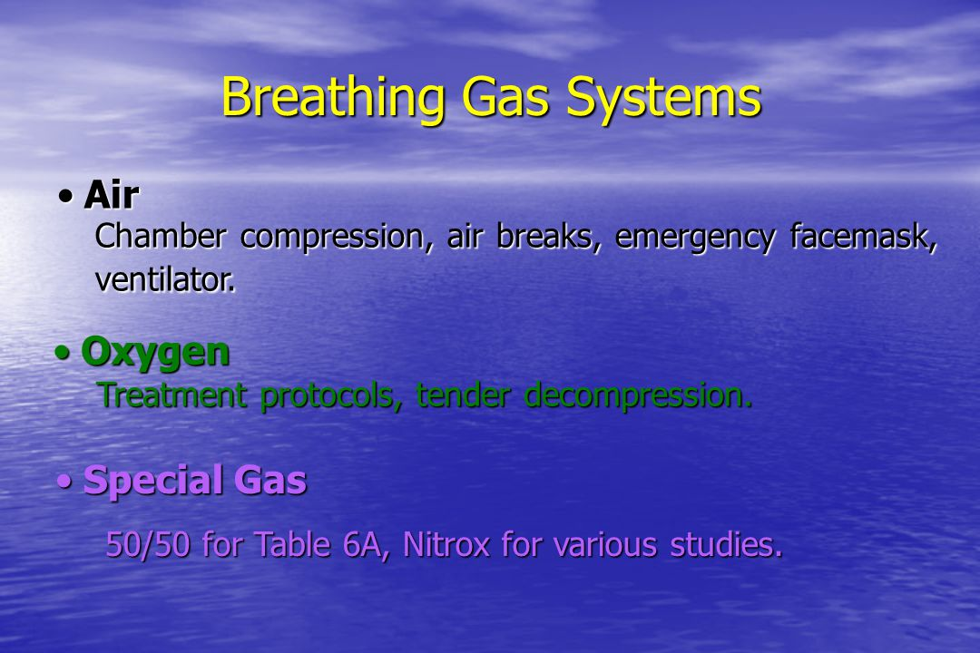Breathing Gas Systems Air Oxygen Special Gas